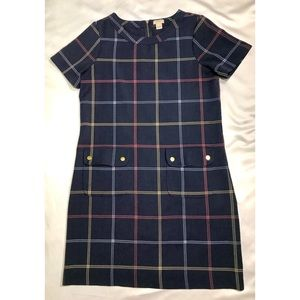 J. Crew Factory Shift Dress 4 Navy Blue Plaid